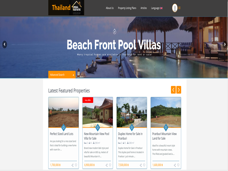 Thailand Real Estate Company is a full featured fully customized real estate database powered website.