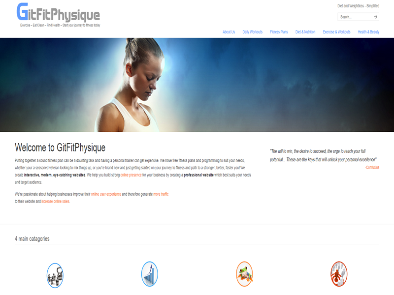 Git Fit Physique is deisgned on Wordpress for a fitness training site for the USA.