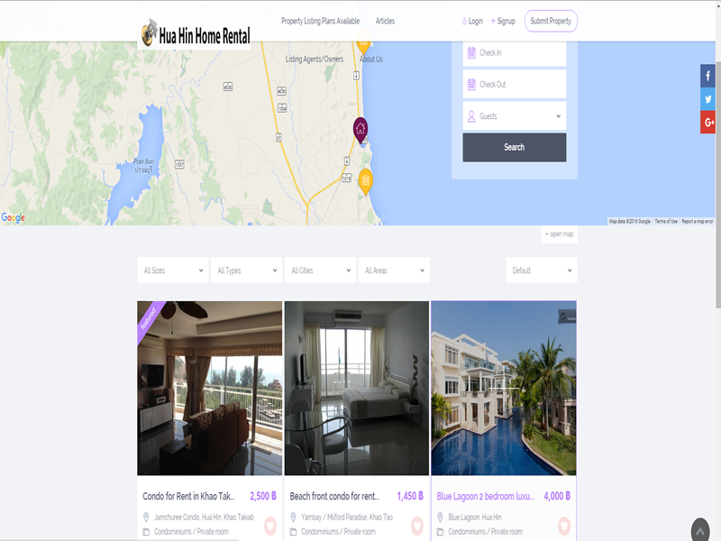 A highly customized real estate site designed for property rental with online booking.